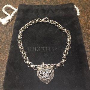 Judith Jack bracelet with marcasite heart charm.